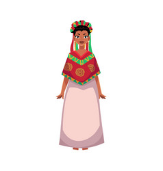 mexican woman in national clothes serape and vector image vector image