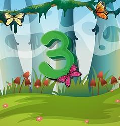 Number three with 3 butterflies in garden vector image vector image