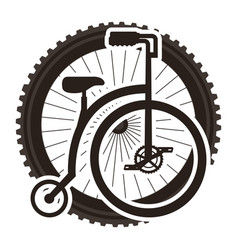 retro bicycle with wheel vector image