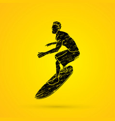 Surfing man play windsurf graphic vector
