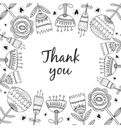 Thank you card with flowers vector
