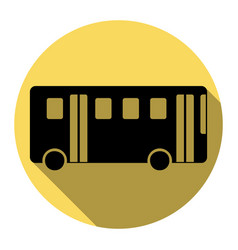 bus simple sign flat black icon with flat vector image