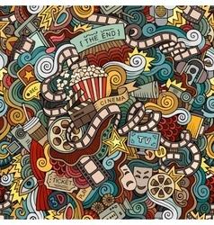 Cartoon doodles cinema seamless pattern vector image vector image