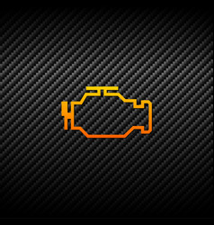 Check engine icon on carbon background vector