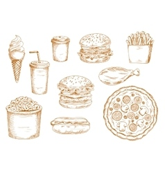 Sketches of fast food and drinks vector image vector image