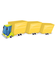 yellow truck cartoon car funny and comic style vector image