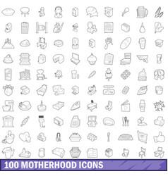 100 motherhood icons set outline style vector image