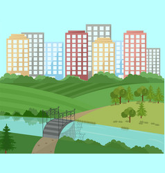 city landscape with a bridge vector image