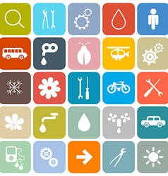 Colorful Flat Design Rounded Square Icons Set vector image vector image