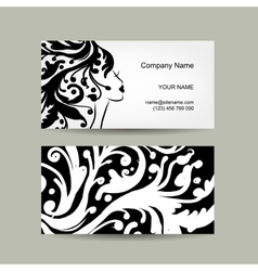 Female head silhouette Business card design vector image vector image
