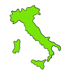 green italy map icon cartoon vector image