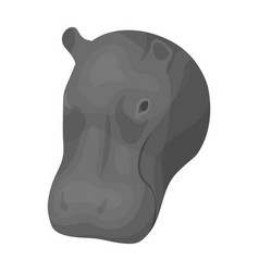 hippopotamus icon in monochrome style isolated on vector image