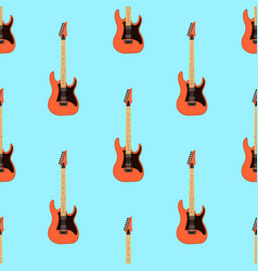 seamless electric guitar pattern on light blue vector image vector image