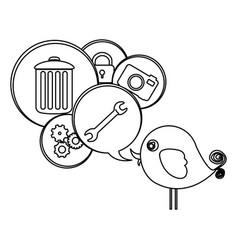Silhouette cute cartoon bird with dialog bubble vector