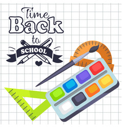 time back to school poster with pens stationery vector image