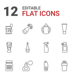 12 bottle icons vector