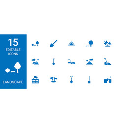 15 landscape icons vector