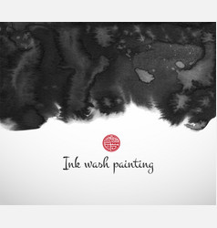 abstract black ink wash painting on white vector image