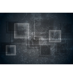 Abstract transparent glass squares on grunge vector