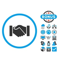 Acquisition Handshake Flat Icon with Bonus vector image