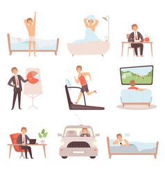 Active man daily routine lifestyle everyday vector
