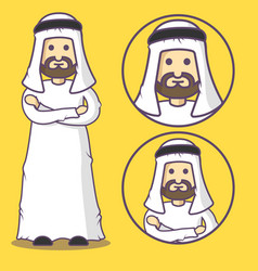 arab cartoon in traditional national clothes vector image