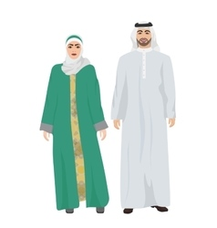 Arabic man male and woman female together in vector image
