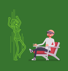 Augmented reality man relaxing with adult content vector