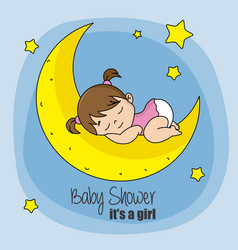 Baby girl sleeping on top of the moon vector