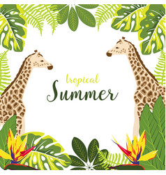 Background with giraffe and plants vector