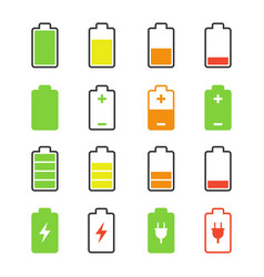 Battery set charge and discharge rates icons vector