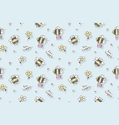 bee happy seamless vector image