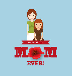 Best mom with child lovely card vector
