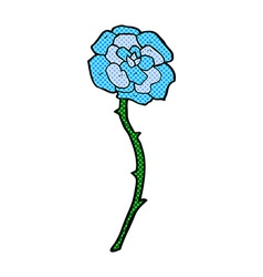 blue flower tattoo comic cartoon vector image