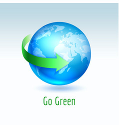Blue planet earth with green arrow vector