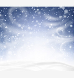 Blue shiny background with winter landscape snow vector