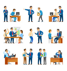 boss and workers activities in office set vector image