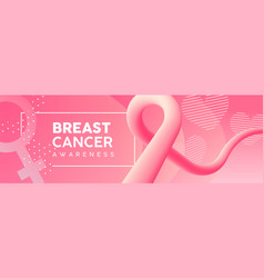 breast cancer awareness pink ribbon banner vector image