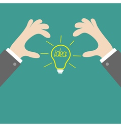 Businessman hands holding idea light bulb Flat vector image