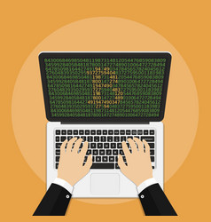 businessman mining bitcoin on laptop bitcoin and vector image