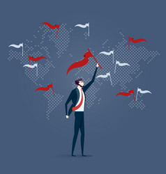 businessman with flag point marks on world map vector image