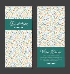 Cards set with decorative flowers pattern vector