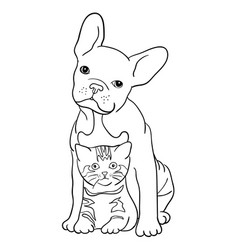 cat and dog line art 06 vector image