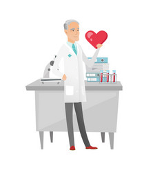 caucasian cardiologist holding a big red heart vector image