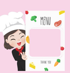 Chef menu cute girl vector