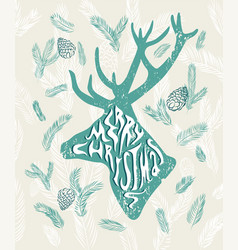 christmas card grunge style with deer silhouette vector image