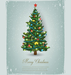 Christmas tree with decorations and gift boxes vector