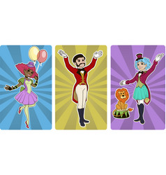 Clown tamer and entertainer circus characters vector