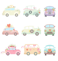 Collection cute vintage cars decorated vector