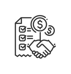 Contract - line design single isolated icon vector